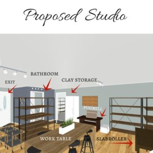 Proposed design for Shawna's accessible studio