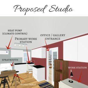 Preliminary design for Shawna's proposed accessible studio